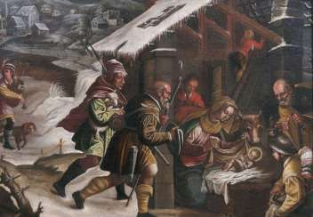 Birth of Christ with the shepherds. Leandro Bassano, school of