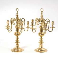 Pair of large 5-lamp table candelabra