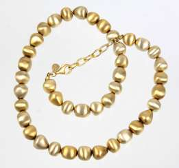 Gold Pearl Necklace - 925 Silver