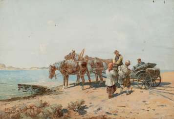 NIKOLAY NIKOLAEVICH KARAZIN 1842 in Kharkov - 1908 Gatchina (after) 'At the ferry'