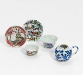 Five small pieces of porcelain: two cups with saucers and a water vessel