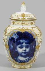 Rare decoration vase with under glaze blue girl portrait