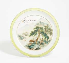 Plate with a spring landscape in the South