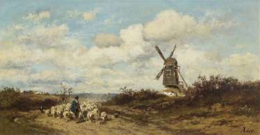 Landscape with windmill and sheep herders. Lier, Adolf