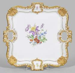 Large ceremonial tray with floral decor