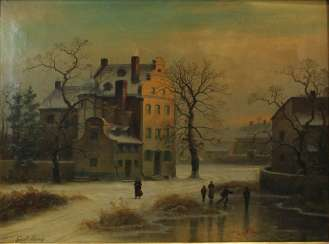 Gustav Johann Lange (Mülheim/Rhein 1811-1887 Düsseldorf), evening mood, winter landscape with ice skaters