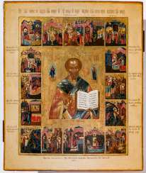 Excellently painted icon of St. Nicholas with 16 scenes from his Vita