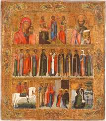 LARGE MORE FIELDS-ICON OF THE DESCENT INTO HELL OF CHRIST, THE MOTHER OF GOD OF KAZAN AND SELECTED SAINTS