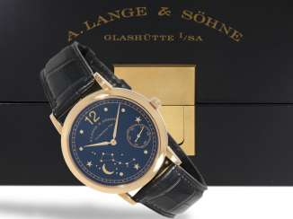 Watch: extremely rare, mint condition, A. Lange & Söhne men's watch in rose gold,