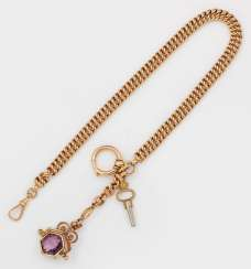Gold watch chain with Amethyst signet