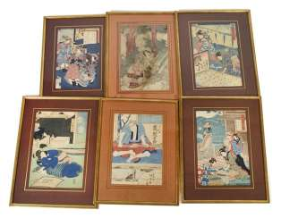 Six framed color woodcuts by various artists