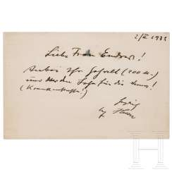 Handwritten card from Hitler to Elsa Endres dated February 2, 1932