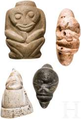 Four small figures made of stone and shell, Caribbean, Taíno culture, 11. - 15. Century