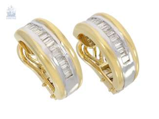Earrings: very high quality crafted Hoop earrings with fine Baguette-cut diamonds, 18K Bicolor, handmade, new gold wrought-resolution