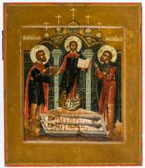 Christ, with the Holy doctor cartridges Kosmas and Damian at the grave of their parents