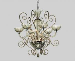 Venetian chandeliers: MURANO Leucos Bolero L6 Lights Chromed. In mint condition. Completely. Very good.