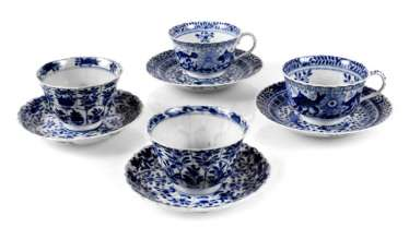 FOUR CUPS WITH SAUCERS,