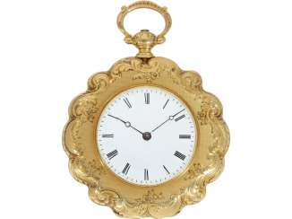 Pocket watch/Anhängeuhr: magnificent ladies watch with curved case and of extremely high quality, housing-engraving, Golay-Leresche No. 3914, Geneva, around 1840