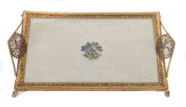 Tray with Petit Point embroidery, probably France, around 1900
