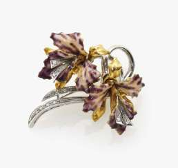 Brooch in the shape of two orchids, Italy