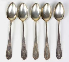 Set Of Art Nouveau Style Coffee Spoons Silver 800