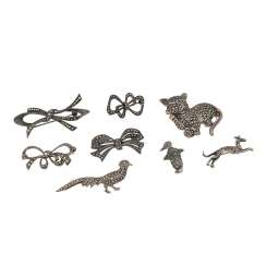 Lot of 8 brooches with marcasite,