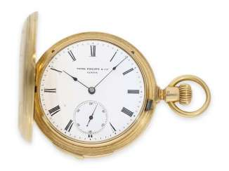 Pocket watch: very fine and early Patek Philippe, gold savonnette with quarter-hour Repetition, delivered to the chronometer-maker Rodanet in Paris, 1872