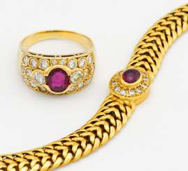 Mixed lot: ruby-diamond ring and bracelet