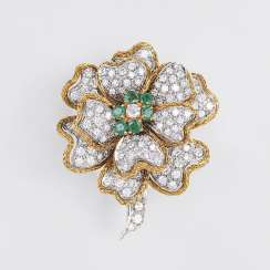 Exceptional Vintage Diamond And Emerald Brooch 'Flower Branch'