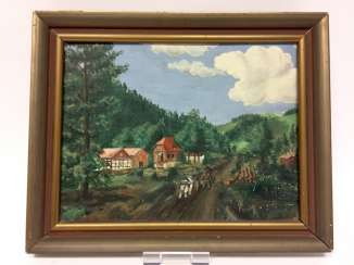 Unidentified artist: landscape / farm in the mountains, Oil on masonite, in very good preservation.