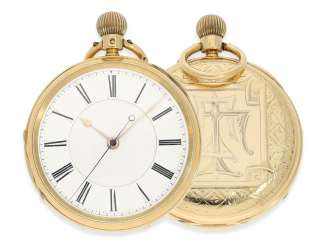 Pocket watch: heavy English Watch, with anhaltbarer Central second, and a special housing decoration, the Royal watchmaker, Hargreaves & co., Liverpool in 1880