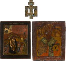 TWO ICONS AND BRONZE CRUCIFIX: PROPHET ELIAS AND HOLY MODEST Russia