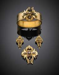 Rose cut diamond bi-coloured gold and silver jewellery set comprising a cuff bracelet diam. cm 6.50 circa