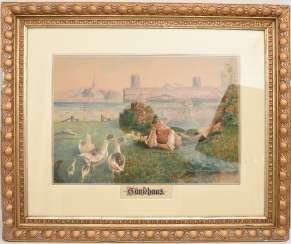 OTTO HILDEBRAND, goose girl and geese Hans, watercolor on paper,framed, signed and dated