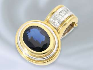 Trailer: modern, high-quality 18K gold clip pendant with a very fine sapphire of approximately 1.5 ct fine diamonds