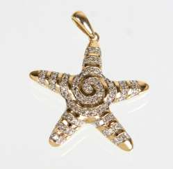 Brilliant Starfish Pendant In Yellow Gold 375