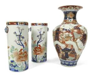 Pair of Rouleau vases, and a shoulder vase with Imari decor