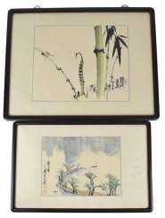 Two framed paintings, a river landscape and a dragonfly with bamboo