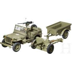 Hand-made model of a Ford GPW jeep with M2 Browning Machine Gun, 37 mm Anti-Tank Gun M-100 Trailer to the US Army