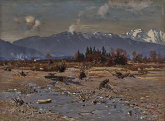 Otto Strützel - In the Isar Valley with a view of the Karwendel Mountains