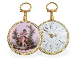 Pocket watch: extremely rare Gold/enamel watch with Repetition, and original Jean Antoine Lepine H ger du Roy No. 2073, Paris around 1775