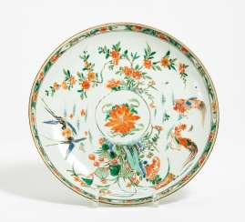 Deep plates with floral and bird pairs