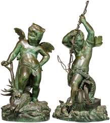 A Few fine sculptures of Hercules and Poseidon, France, 19. Century