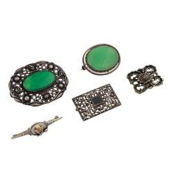Jewelry mixed lot of silver, 5-piece,