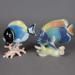 "Two animal sculptures ""Exotic Fish"""