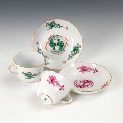 2 mocha cups with dragon decoration, Meissen.