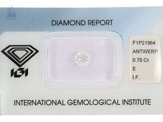 Brilliant: high-grade system-diamond in top quality, 0,7 ct, River E, loupe clean, including the IGI Report