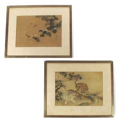 Zwei Seidenmalereien mit Darstellung von Tigern und Insekten