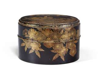 TWO JAPANESE GILT AND BLACK LACQUER BOXES AND COVERS