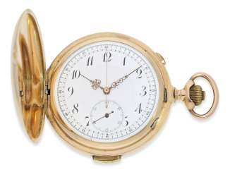 Pocket watch: very large and heavy gold savonnette minute repeater and Chronograph, Le Phare (Barbezat Baillot), Swiss Patent 13244, CA. 1900
